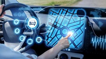 view of autonomous driving vehicle dashboard