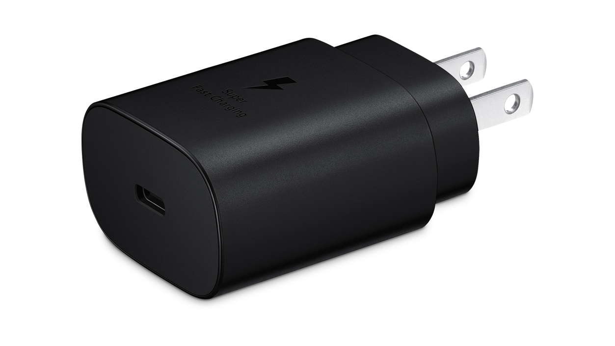 Super Fast Charge 25W wall charger included with Samsung Wireless Charger Stand 15W 2.0 (Black)