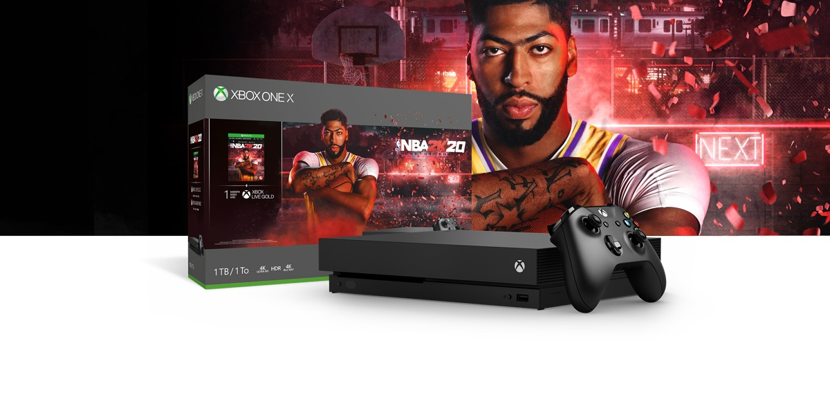 Xbox One X NBA 2K20 Bundle front of a red hued background with a basketball hoop, light-up Next sign, and confetti