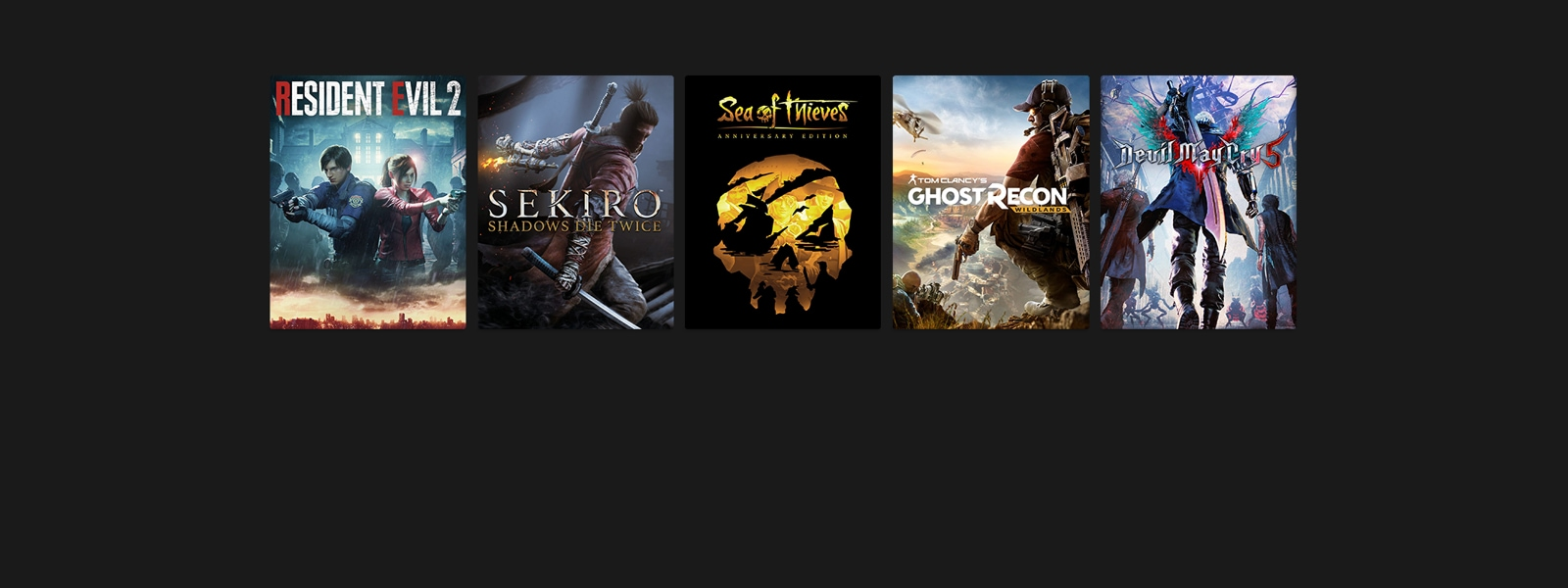 Resident Evil 2, Sekiro, Sea of Thieves, Ghost Recon, Devil May Cry 5