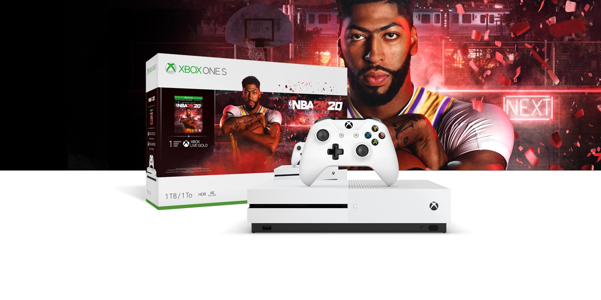Xbox One S NBA 2K20 Bundle front of a red hued background with a basketball hoop, light-up Next sign, and confetti