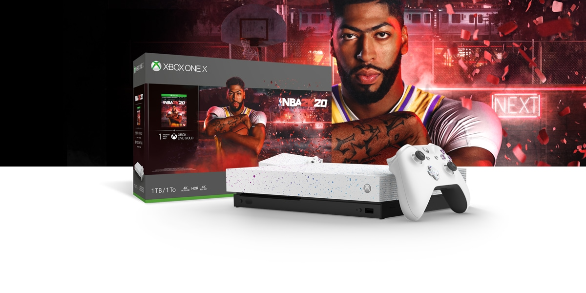 Xbox One X NBA 2K20 Special Edition Bundle front of a red hued background with a basketball hoop, light-up Next sign, and confetti