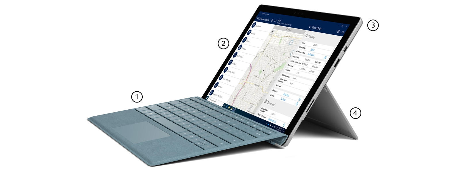 Surface Pro 5th Gen with LTE Advanced in laptop mode with Surface Pro Signature Type Cover in Ice Blue