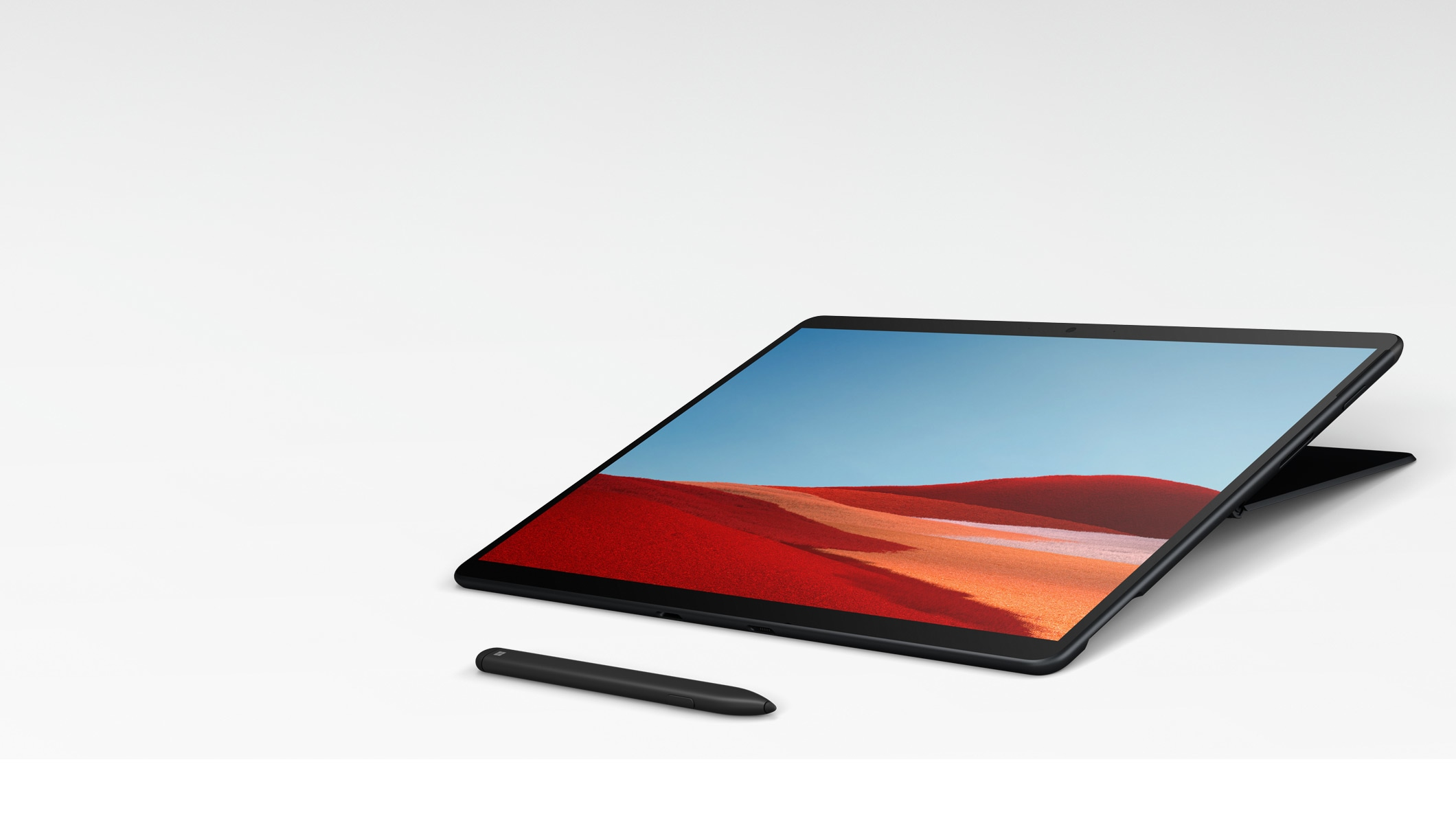 Surface Pro X in Studio Mode with Surface Slim Pen