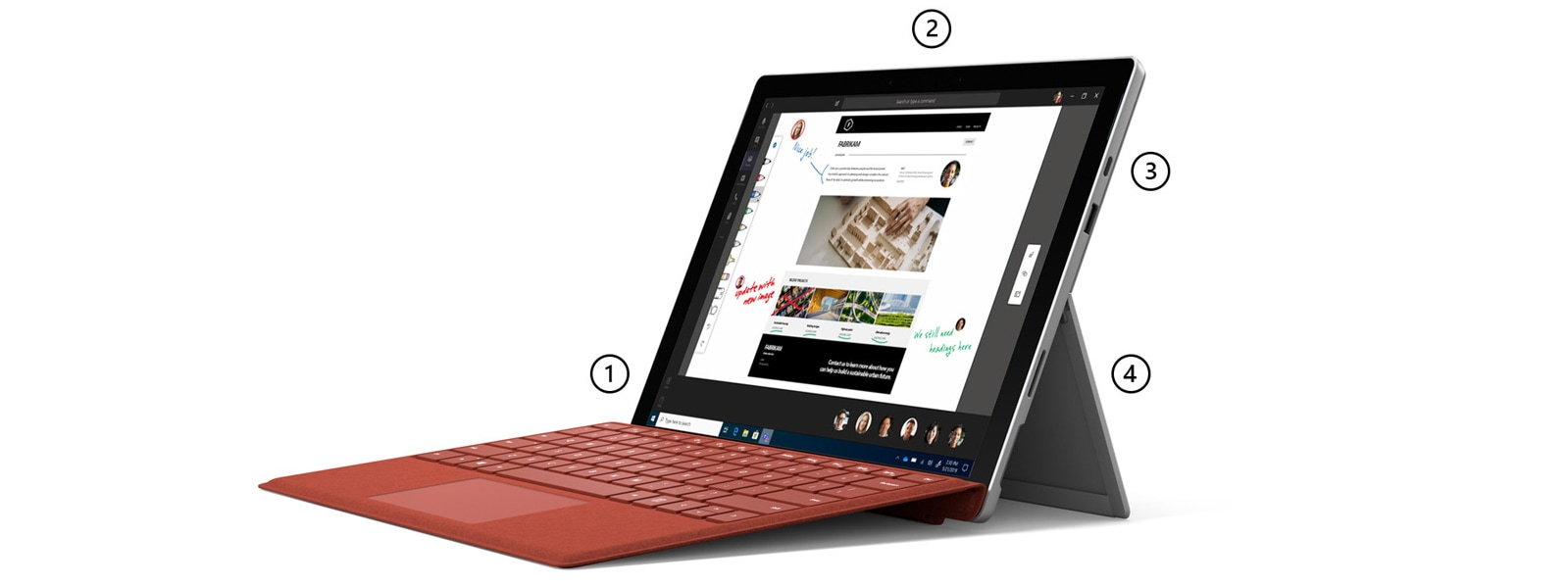 Surface Pro 7 in Laptop Mode with Surface Pro Signature Type Cover in Poppy Red with points highlighting Studio Microphones, front-facing camera, ports and kickstand