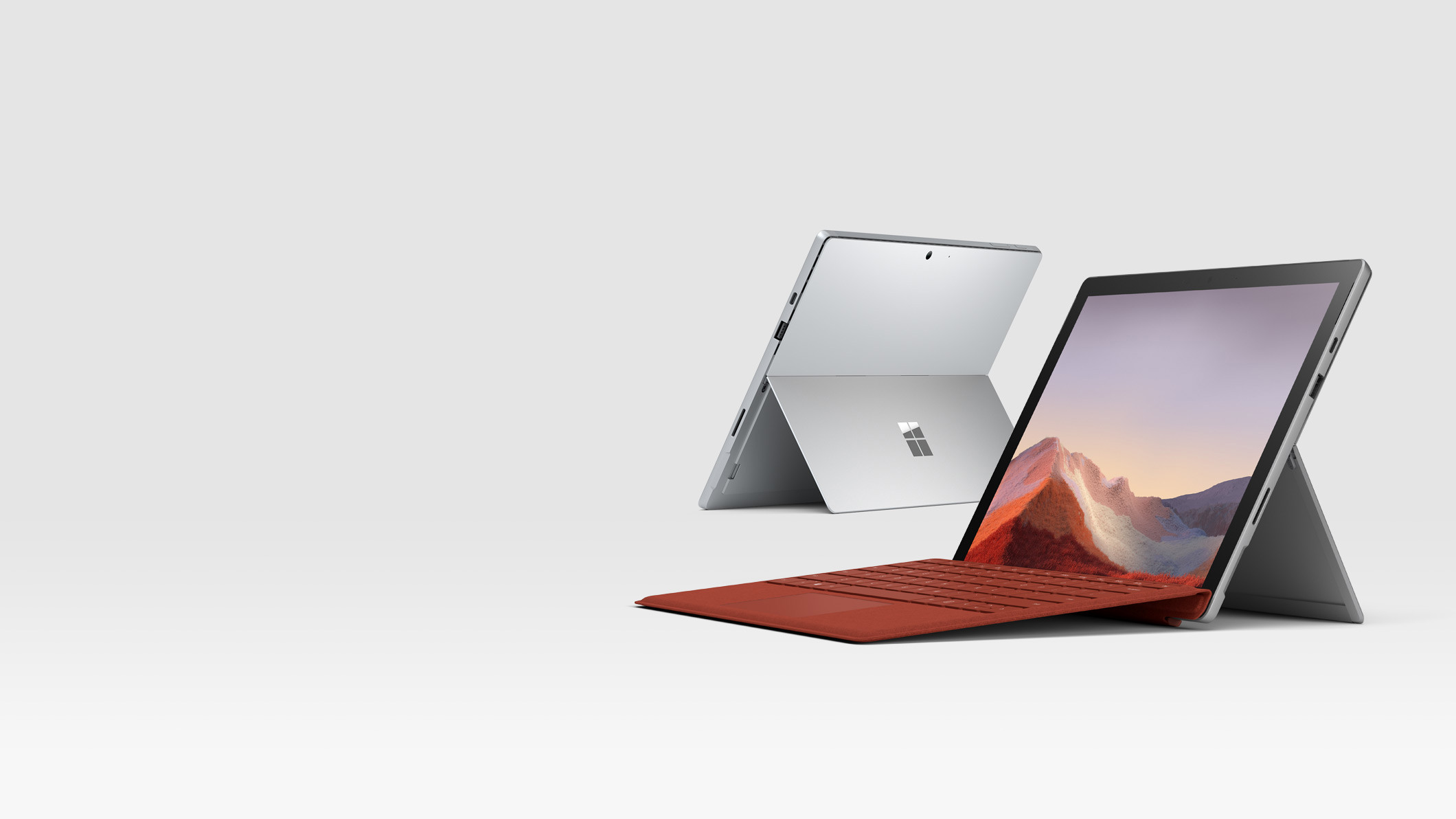Surface Pro 7 in Platinum with Surface Signature Type Cover in Poppy Red