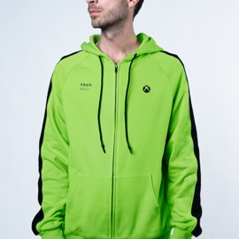 A man wearing the Color Block hoodie in green and black.