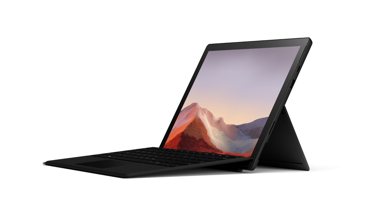 Black Surface Pro 7 with keyboard