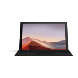 Microsoft Surface Pro 7 bundle with Surface Type Cover in Black, facing the front