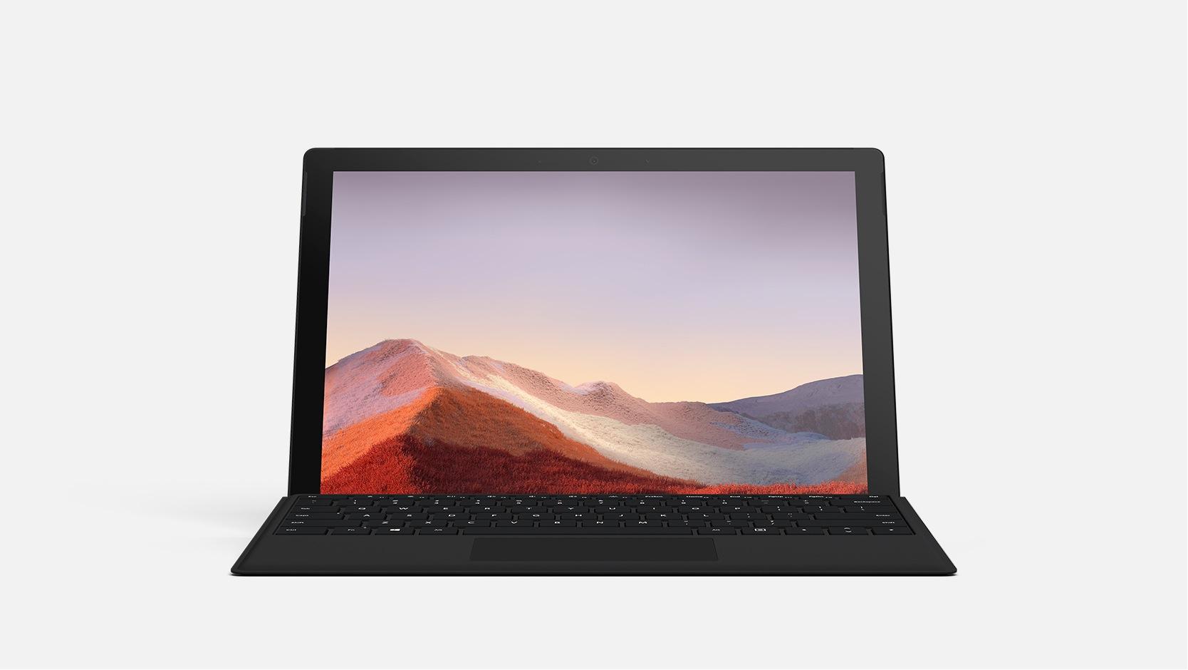 Un dispositivo Surface Pro 7 con una Cover con tasti nera