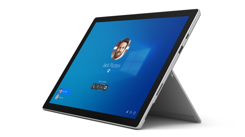 Microsoft Surface Pro 7 bundle with Surface Type Cover in Black,with Windows Hello face recognition on screen