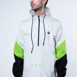 A man wearing the Xbox Color Block Half Zip Anorak jacket