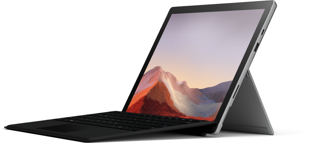 Platinum Surface Pro 7 with keyboard