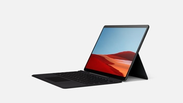 Surface Pro X showing screen and black Type Cover