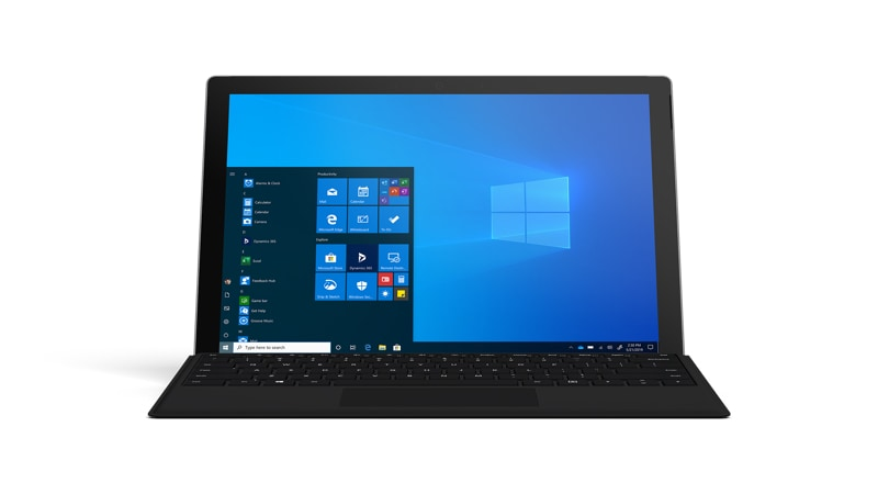Microsoft Surface Pro 7 bundle with Surface Type Cover in Black, facing the front with Windows Start on screen