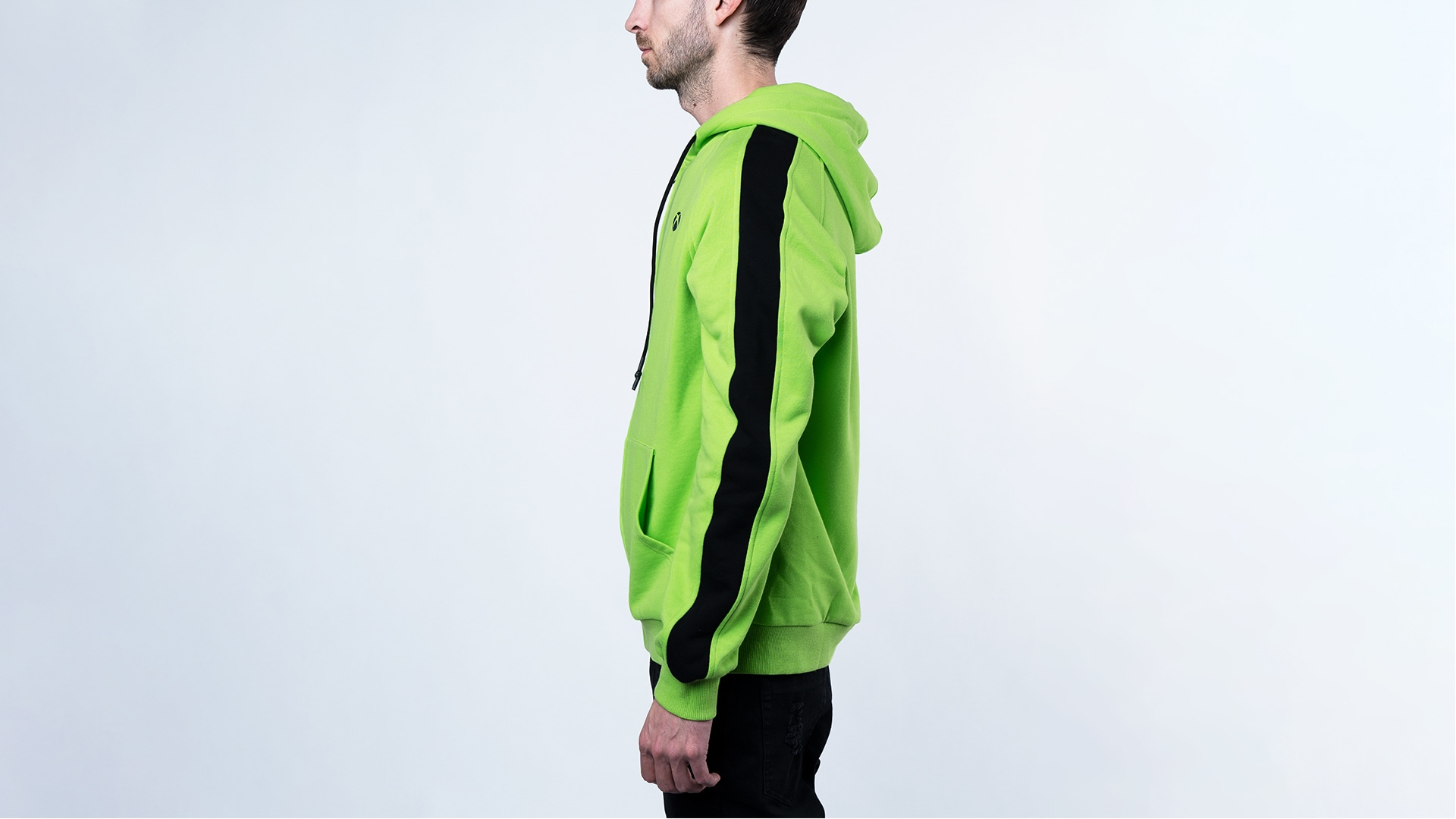 A man wearing the Colour Block Hoodie