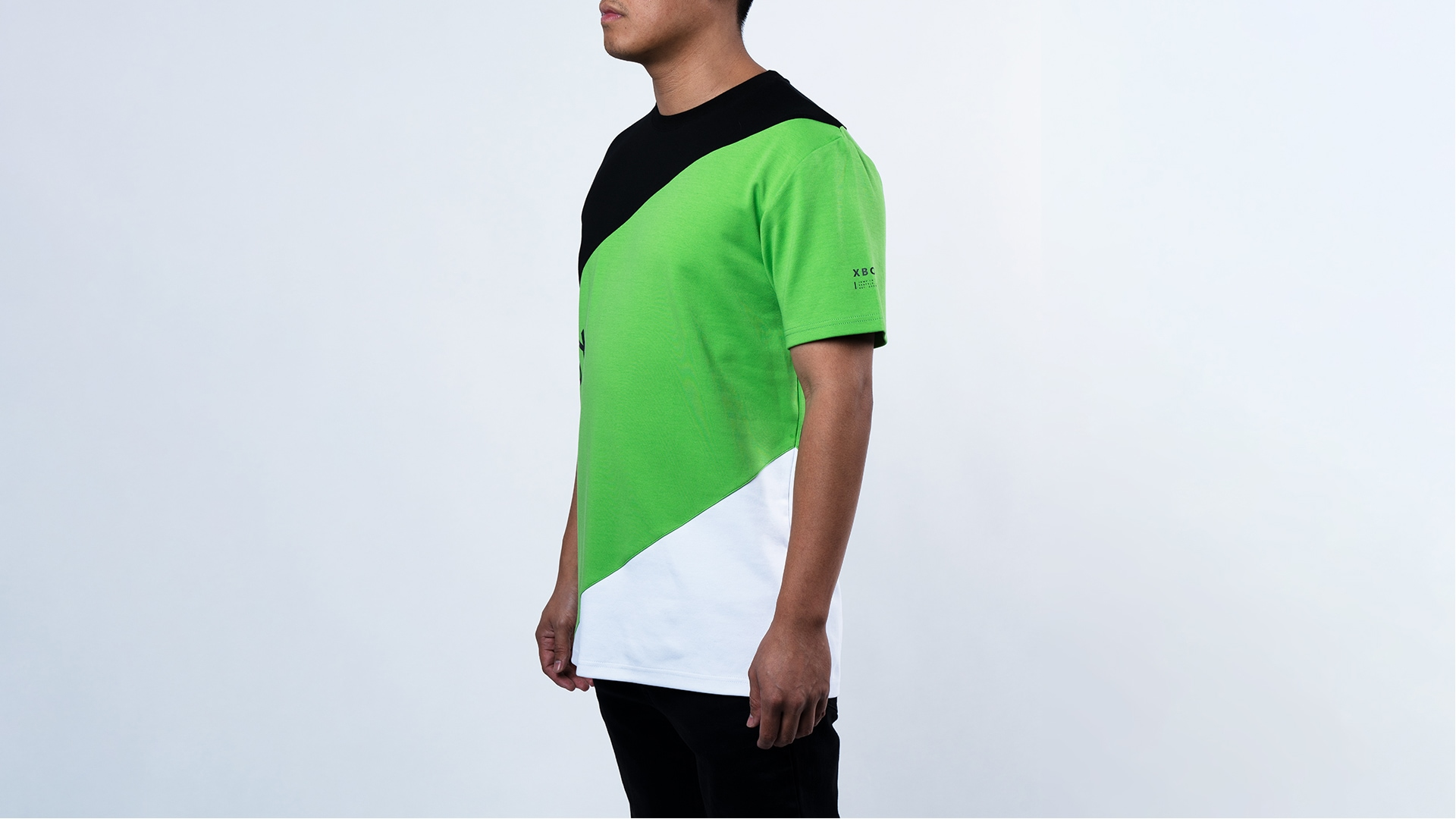 A man wearing the Panel Color Block Tee