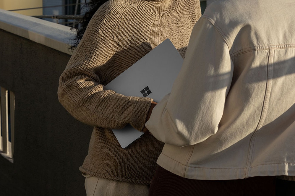 Close-up of woman on Surface Laptop 3