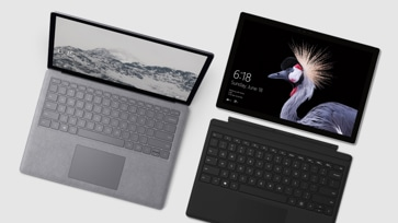 Top down view of Surface Pro 6 and Surface Laptop 2