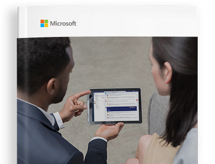 Cover of e-book with a Microsoft logo and people looking at a handheld device