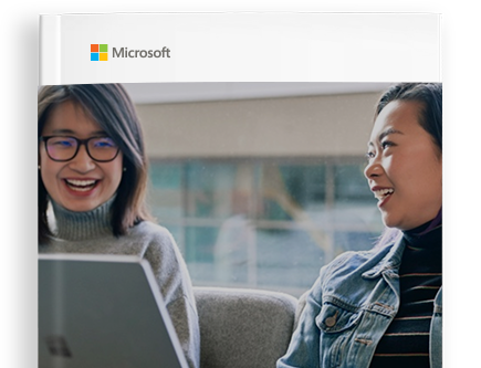 Cover of e-book with a Microsoft logo and two people smiling with a laptop