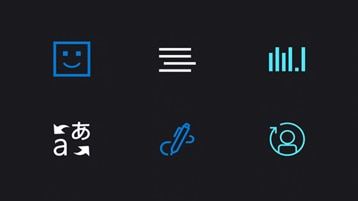 Icons illustrating some aspects of Azure Cognitive Services