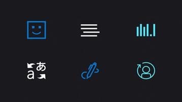 Ícones que ilustram alguns aspectos dos Serviços Cognitivos do Azure