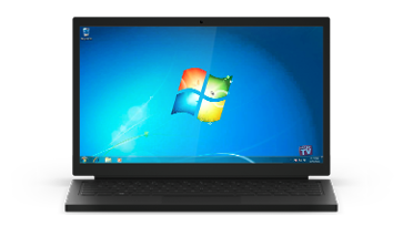 A Windows 7 screen on a laptop
