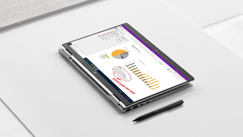 Image showing Microsoft OneNote screen on a Dell tablet screen.