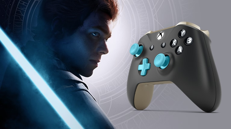 Profile of jedi and blue lightsaber next to a black xbox one controller with gold triggers and blue joysticks and d pad.