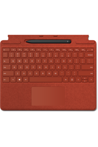 A poppy red Surface Pro X Signature Keyboard with Slim Pen Bundle sits on display.