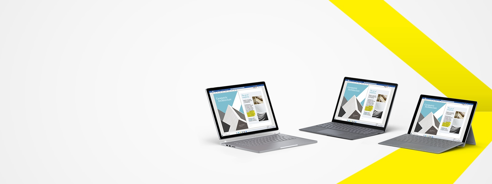 Image of the Surface Book 3, Surface Laptop 3 and Surface Pro 7 with grey Signature Type Cover.