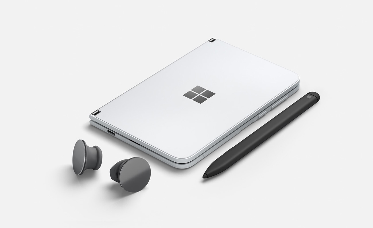 Surface Duo, Surface Earbuds in Graphite and Surface Slim Pen