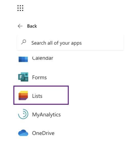 Lists in app launcher