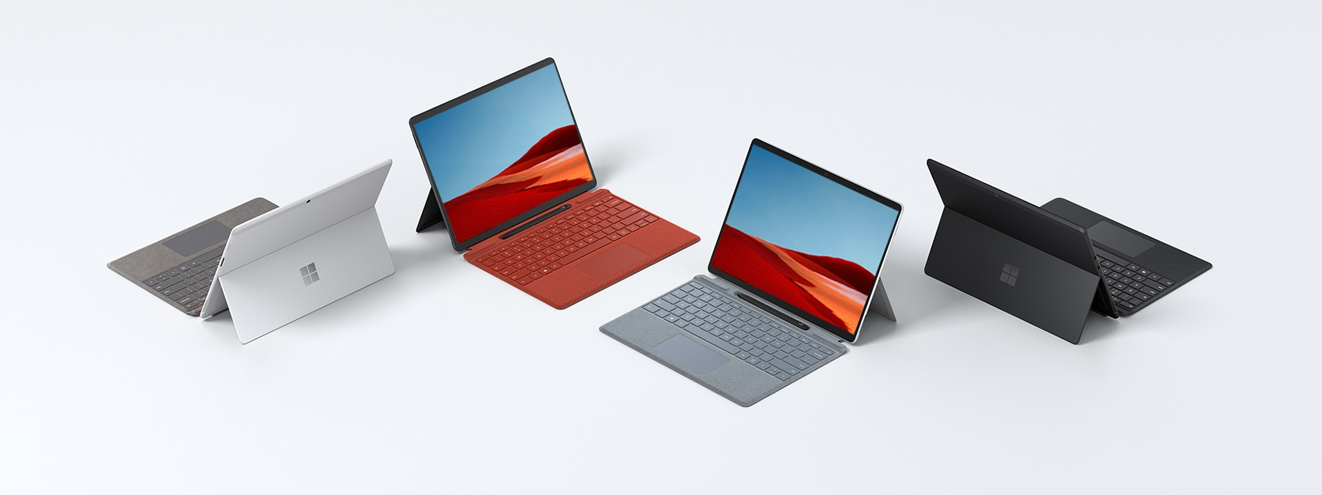 Surface Pro X at multiple angles