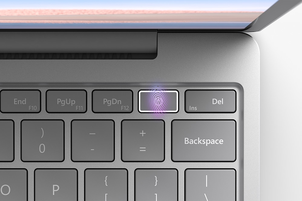 Surface Laptop Go keyboard focused on the power button