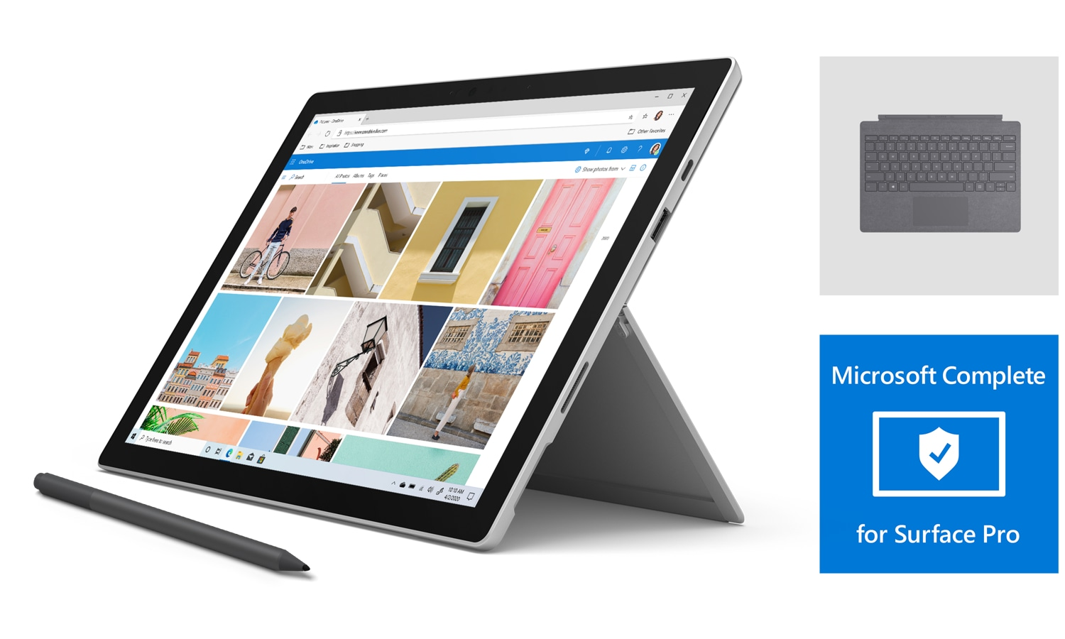 Surface Pro 7 bundle with Platinum typecover and black pen, with Microsoft Complete, for Back to School 2020.