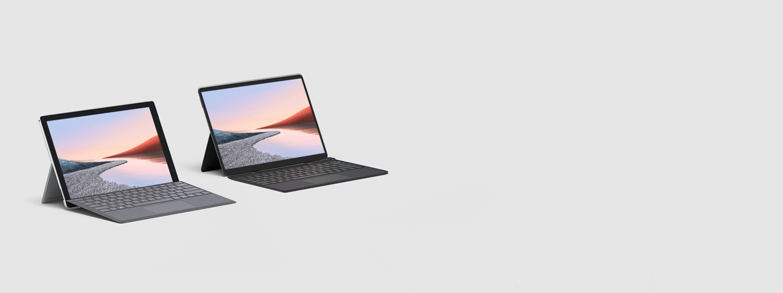 Surface Pro 7 in Platinum with Platinum Type Cover and Surface Pro X with Black Type Cover