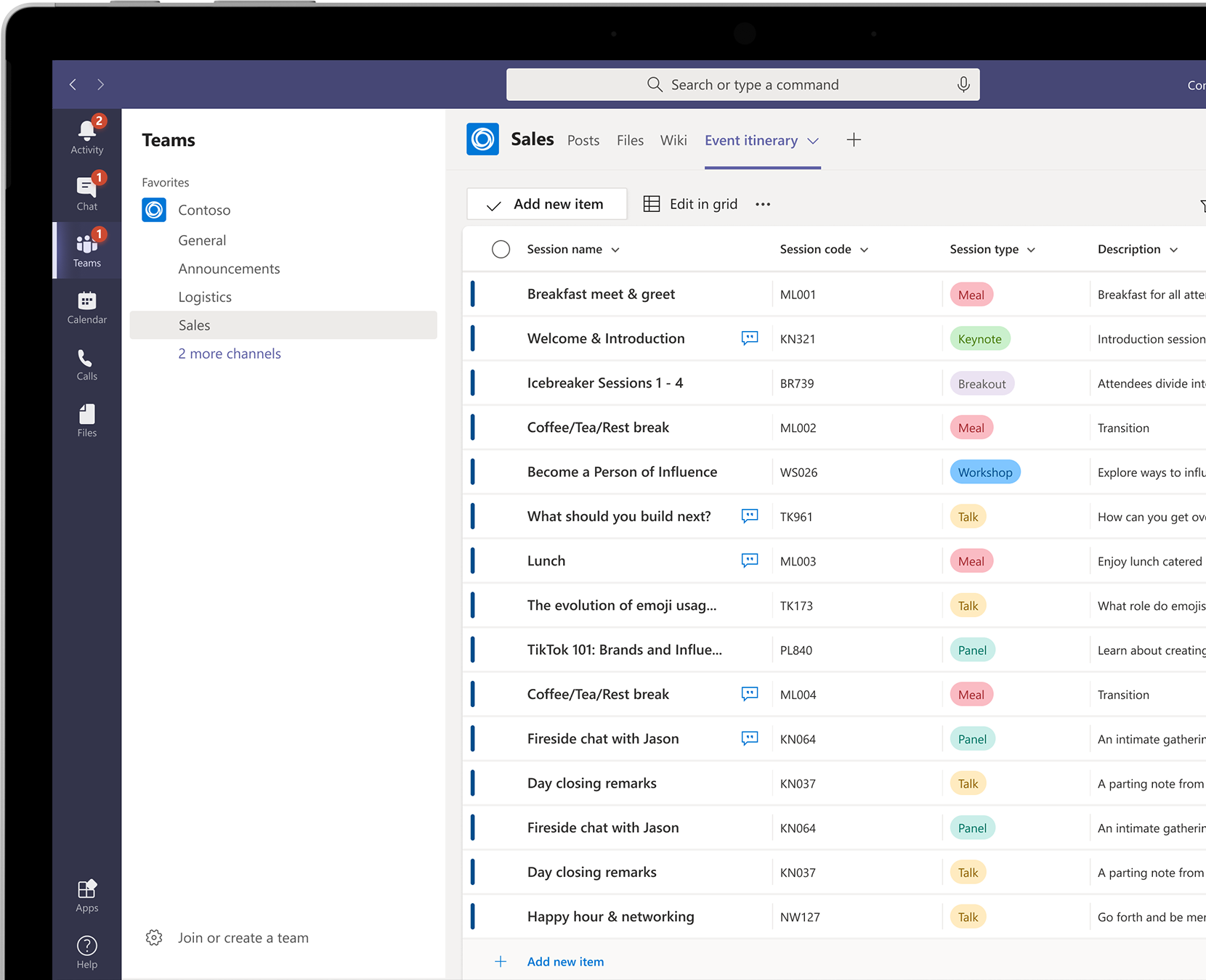 A list of sessions for an event, including details about each session, shown within Microsoft Teams.