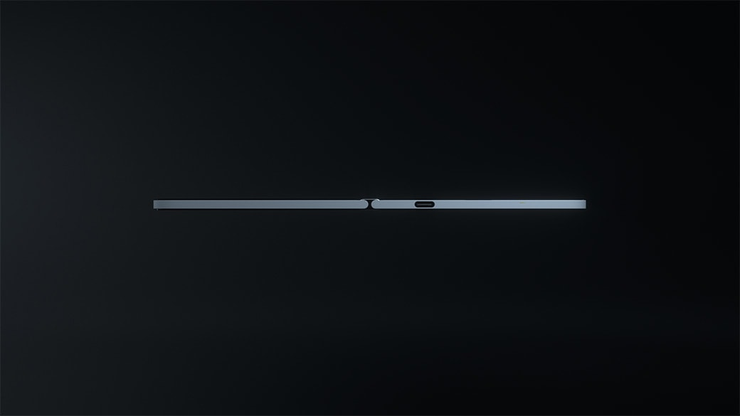 A side profile image of Surface Duo showing how thin it is