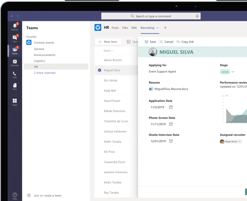 An applicant's information shown on an HR recruiting list within Microsoft Teams