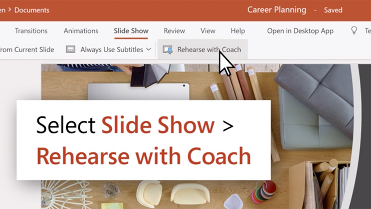 PowerPoint screen showing rehearse with coach options