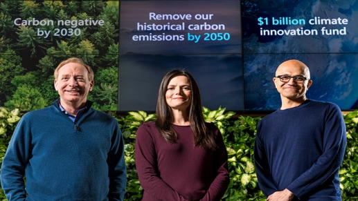 Microsoft leaders giving sustainability announcements