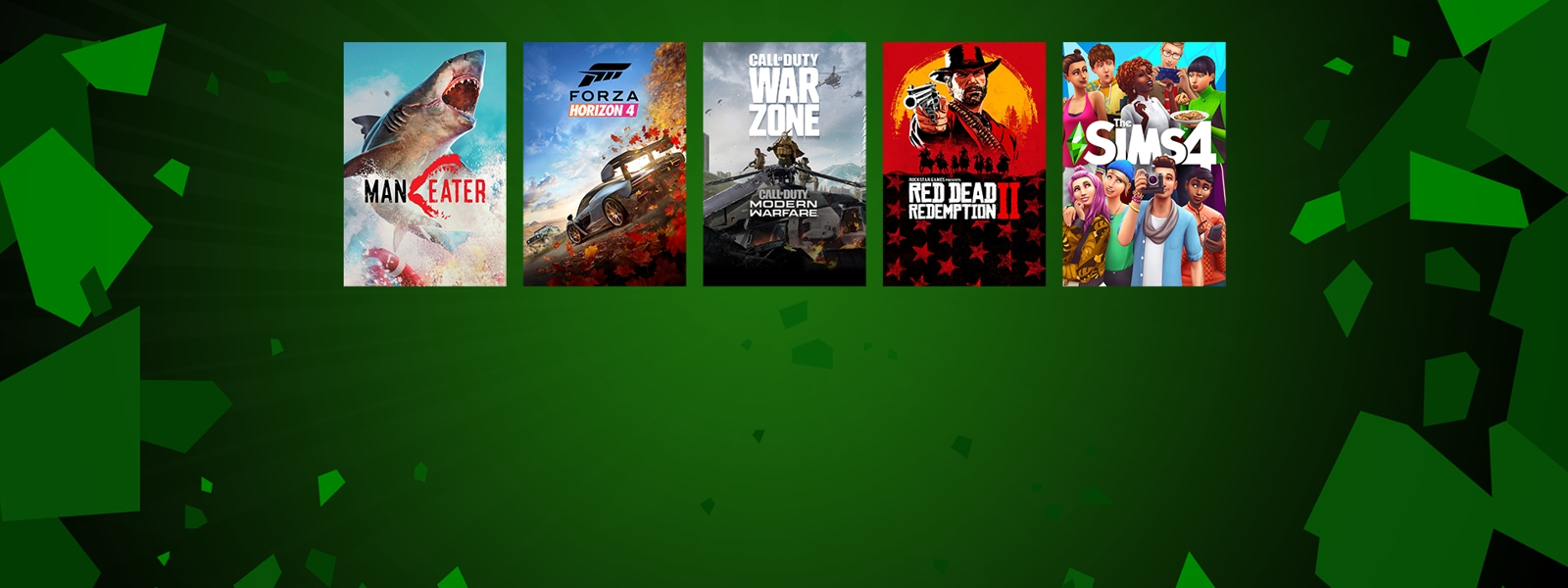 Man Eater, Forza Horizon 4, Call-Duty, Red Dead Redemption II, Sims 4