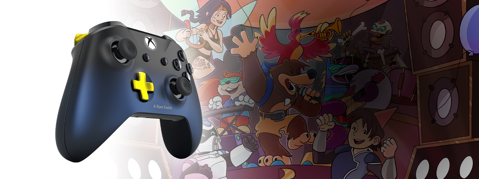 Blue shadow xbox one controller with gold d pad and a collection of Rare characters behind.