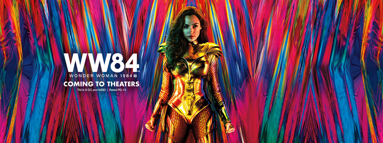 Wonder Woman dressed in a suit of gold standing in front of a colorful background
