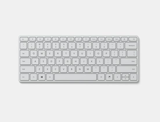 Monza Grey Microsoft Designer Compact Keyboard at an angle.