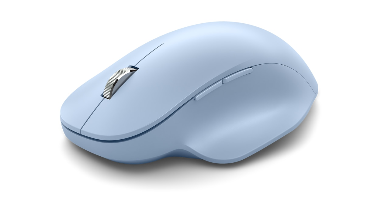 Angled side view of Pastel Blue Microsoft Bluetooth Ergonomic Mouse.