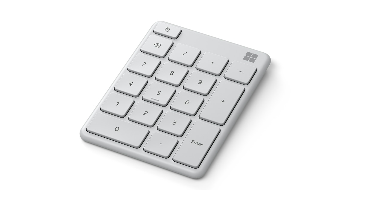 Angled view of Monza Grey Microsoft Number Pad.