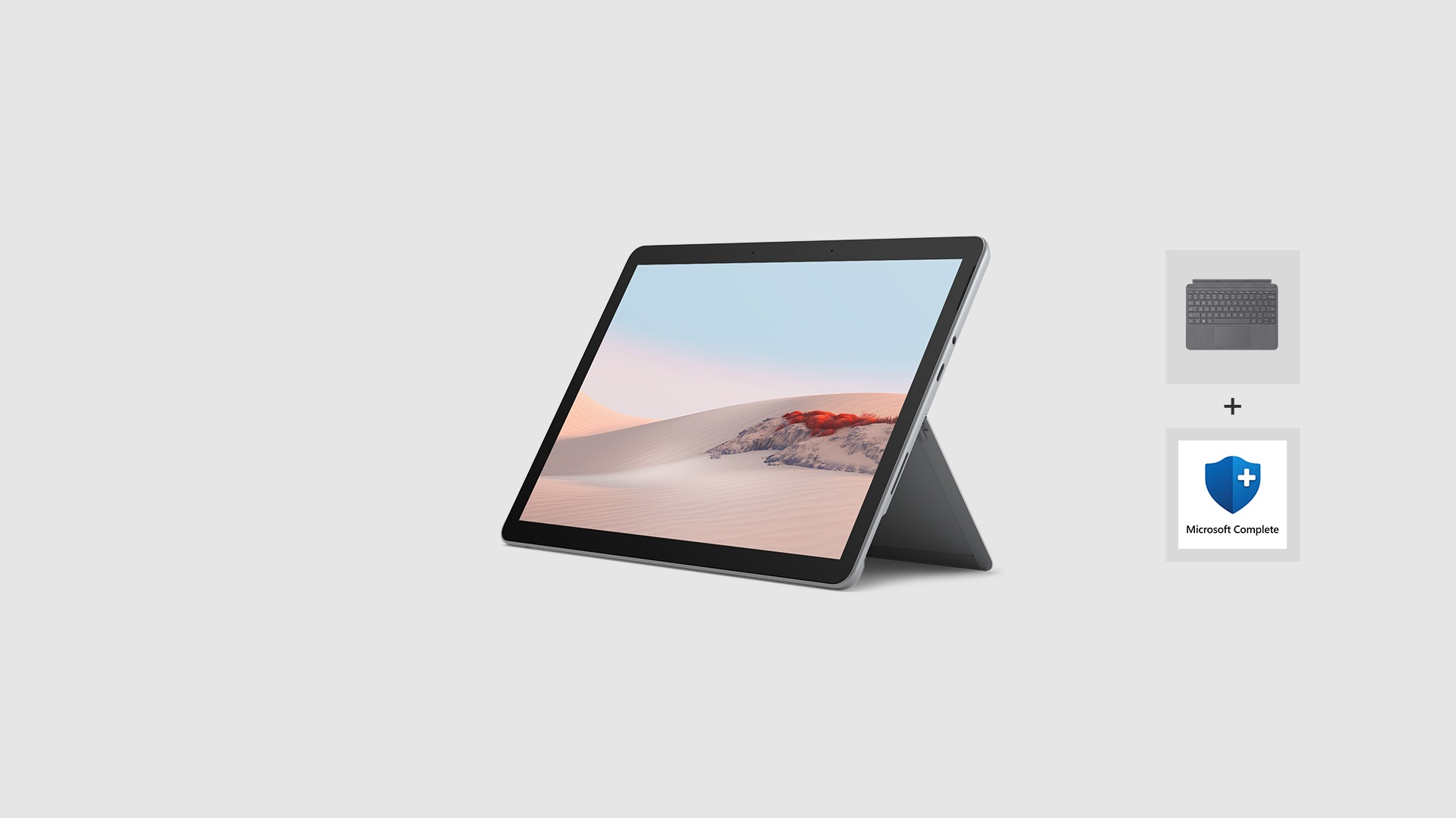 Surface Go 2 with Surface Go Type Cover and Microsoft Complete for Business Logo